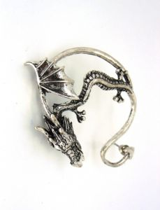 Game of Thrones Dragon Ear Cuff - Curved Tail , SILVER